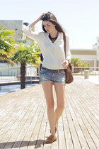 brown Topshop shoes - cream H&M shirt - sky blue denim Zara shorts