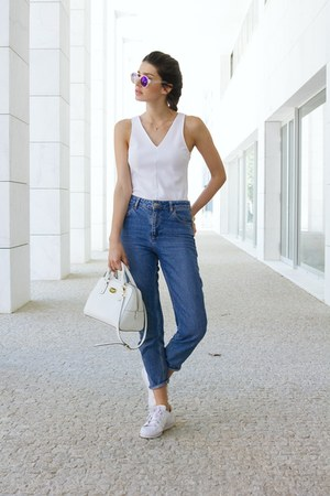 sky blue Sunbay sunglasses - blue Topshop jeans - white H&M top