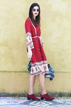 ruby red asos boots - ruby red Zara dress