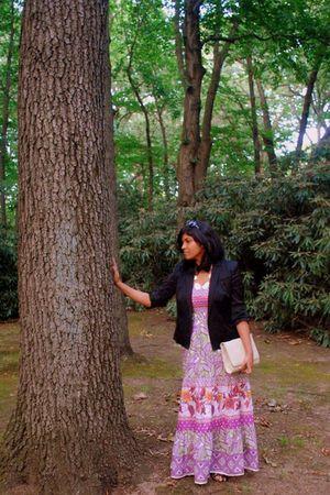 black calvin klein blazer - pink Forever 21 dress - beige vintage purse - beige