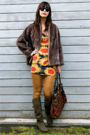 vintage coat - Urban Outfitters boots - vintage dress