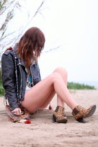 Jeffrey Campbell boots - leather biker vintage jacket - vintage bag