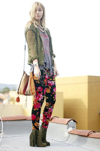 floral vintage pants - green fringe Jeffrey Campbell boots - vintage bag