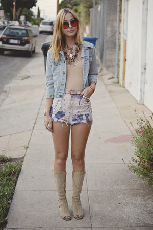 DIY shorts - lace up vintage boots - denim vintage jacket