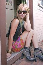 Fashion District boots - DIY dress - vintage vest