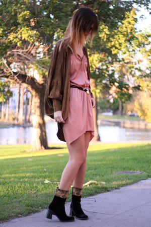 vintage cardigan - velvet vintage boots - vintage dress