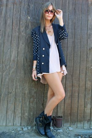 Anthropologie blouse - Jeffrey Campbell boots - vintage blazer