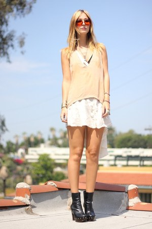 platform Forever 21 boots - silk dress - nude blouse