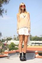 platform Forever 21 boots - silk dress - nude blouse