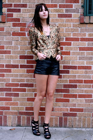 gold metallic vintage blazer - strappy black Also shoes - leather vintage shorts