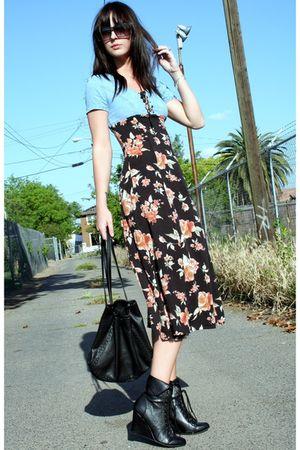 vintage 90s dress - Forever 21 boots - vintage purse