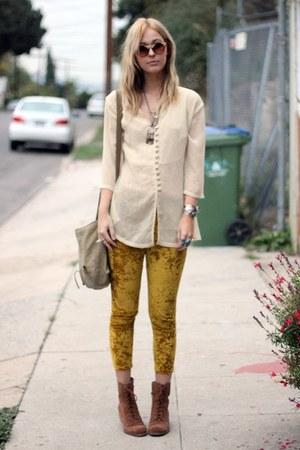crushed velvet vintage pants - lace up Dolce Vita boots