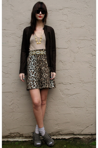 Maxx Studio cardigan - vintage belt - Anna Sui skirt - deena and ozzy shoes - An