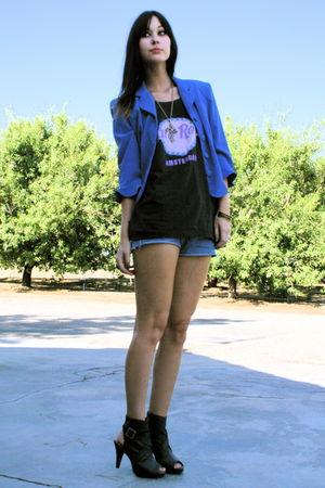 electric blue vintage blazer - guess vintage shorts - vintage top