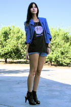 electric blue vintage blazer - guess vintage shorts - vintage top