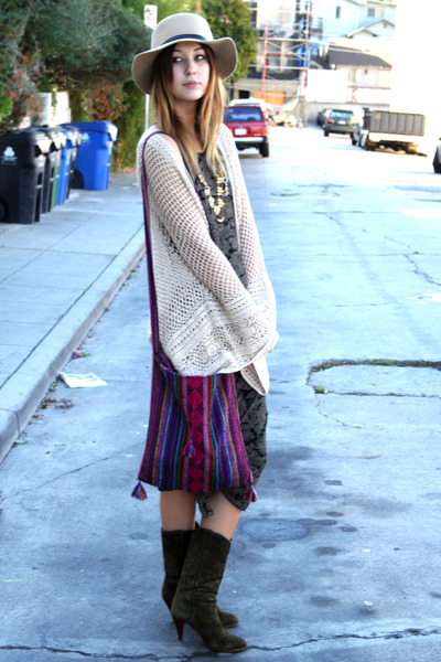 vintage boots - vintage dress - thrifted cardigan
