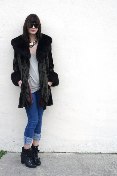 vintage coat - Cheap Monday jeans - Nine West boots - American Apparel top - vin