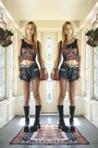 Mayan-sundial-vintage-bag-tunnel-vision-boots-denim-vintage-shorts