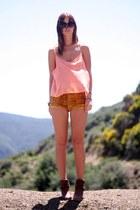 vintage boots - velvet vintage shorts - chiffon American Apparel top
