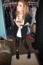 black cardigan - black shoes - black tights - shirt