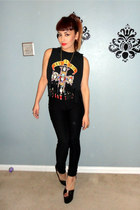 diy fringe thrifted vintage t-shirt - Jeffrey Campbell wedges