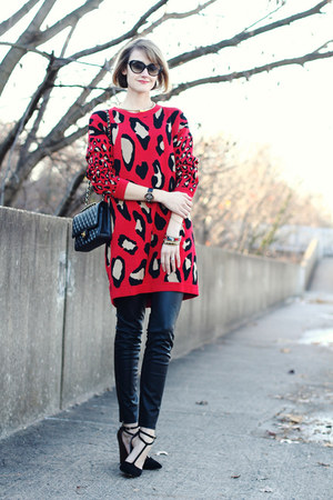 black quilted Chanel bag - ruby red leopard print DKNY dress