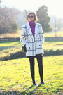 White-plaid-vintage-coat-magenta-cowl-neck-vintage-sweater