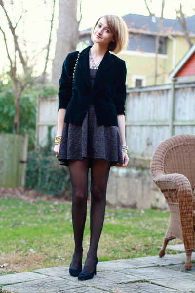 green velvet thrifted blazer - puce lurex Topshop dress - black Chanel bag