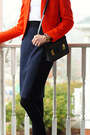 Carrot-orange-structured-zara-blazer-black-mini-sophie-hulme-bag