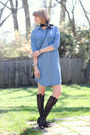 Sky-blue-denim-asos-dress-black-bandana-urban-outfitters-scarf