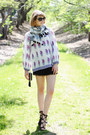 White-tassel-loft-scarf-black-fringe-topshop-bag-black-pom-pom-asos-shorts