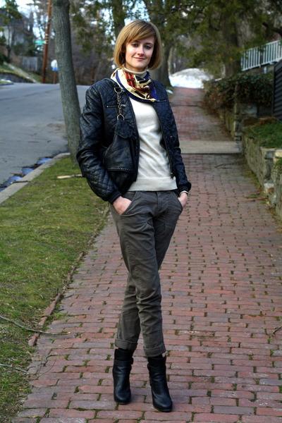 black H&M jacket - blue Ralph Lauren scarf - beige banana republic sweater - gre