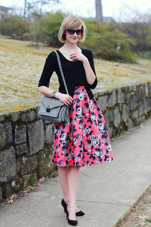 hot pink floral asos skirt - heather gray shoulder bag loeffler randall bag