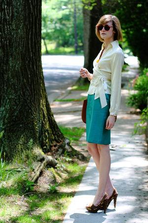 white The Limited top - brown Bally purse - green vintage skirt - brown Miu Miu