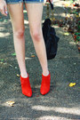 Black-studded-bag-kmrii-bag-red-ankle-boots-zara-boots