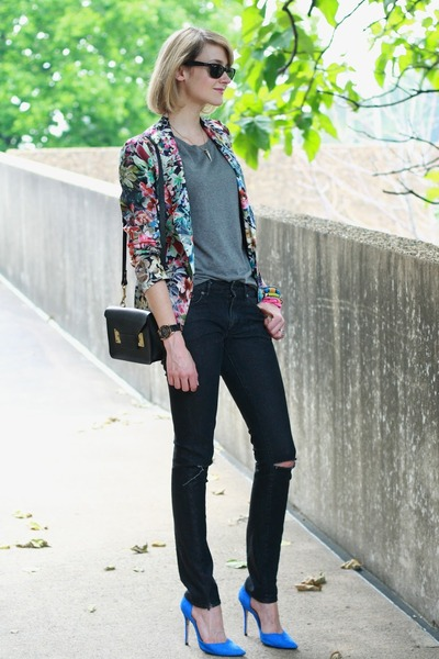 black diy distressed H&M jeans - hot pink floral Zara blazer