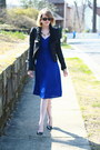 Blue-wrap-karen-zambos-dress-black-romwe-jacket-black-mini-sophie-hulme-bag