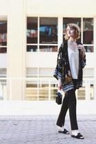 black kimono jacket Pixie Market cardigan - black satin pants asos pants