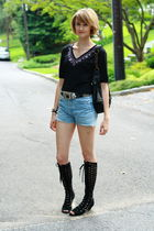 black Betsey Johnson top - black vintage belt - blue Levis shorts - black Urban
