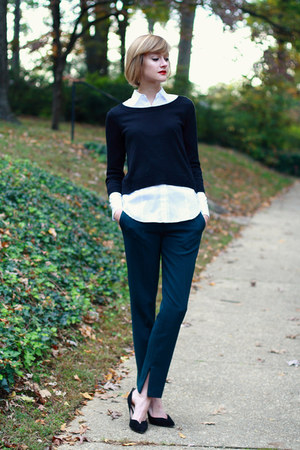 black cropped H&amp;M sweater - white button-down ann taylor blouse