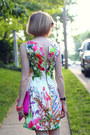 Dark-brown-cat-eye-none-sunglasses-bubble-gum-floral-zara-dress