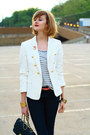 Navy-skinny-jeans-h-m-jeans-white-double-breasted-zara-blazer-black-quilted-