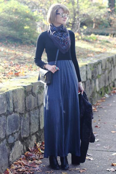 black ankle boots H&M boots - blue maxi dress patterson j kincaid dress