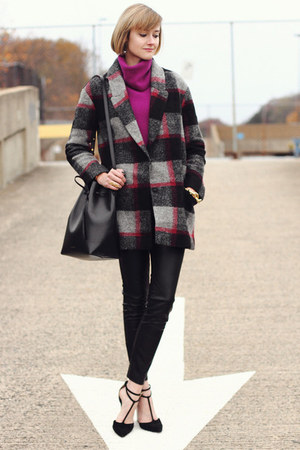 charcoal gray plaid Bel Air coat - magenta cowl neck vintage sweater