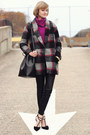 Charcoal-gray-plaid-bel-air-coat-magenta-cowl-neck-vintage-sweater