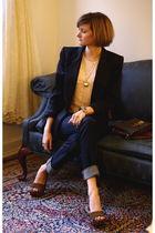pink Topshop top - blue J Brand jeans - brown Miu Miu shoes - gold Hermes bracel