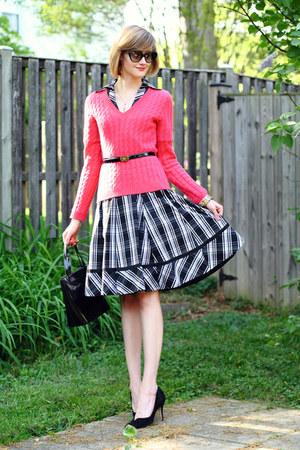 hot pink neiman marcus sweater - black plaid karen millen dress