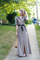 gold knot Adia Kibur necklace - tan shirtdress maxi Trovata dress