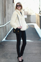 fur vintage coat - gold stripe Zara jeans - mini Sophie Hulme bag