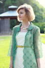 White-eyelet-express-dress-chartreuse-lace-vintage-coat